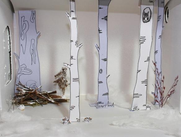 gerade erwachender Frühlungswald aus Papier