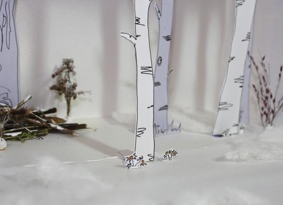 gerade erwachender Frühlungswald aus Papier (Detail)