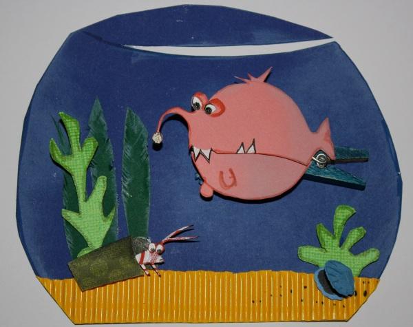 Gutscheinkarte als Aquarium mit rosa Anglerfisch