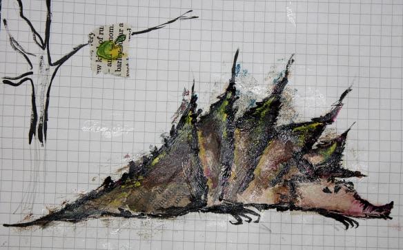 fertiges Mixed-Media Stacheltier: Acryl auf Buchschnipsel auf Papier