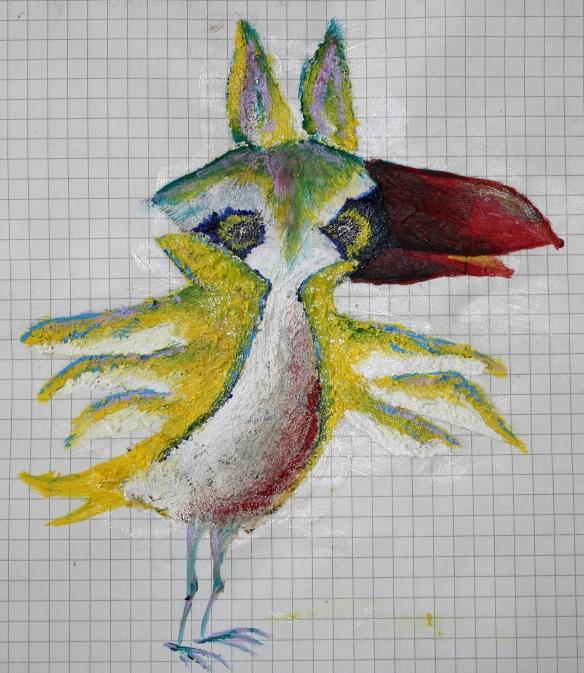 fertiger Mixed-Media Vogel: Acryl auf Buchschnipsel auf Papier
