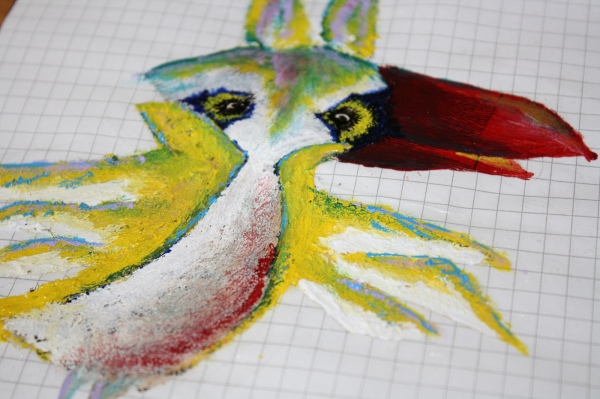 Detail Mixed-Media Vogel
