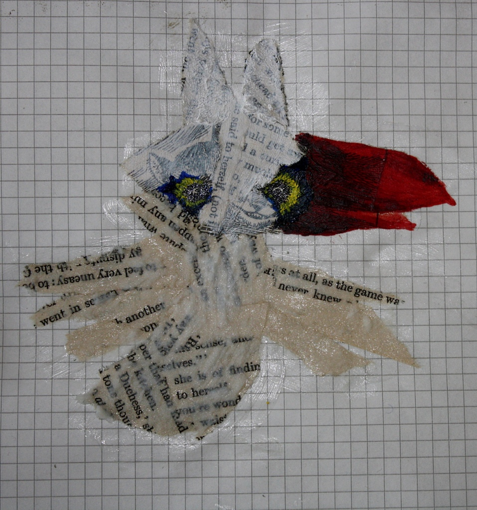 Mixed-Media Vogel in Arbeit